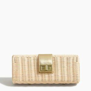 J crew Raffia woven rattan straw clutch gold NEW